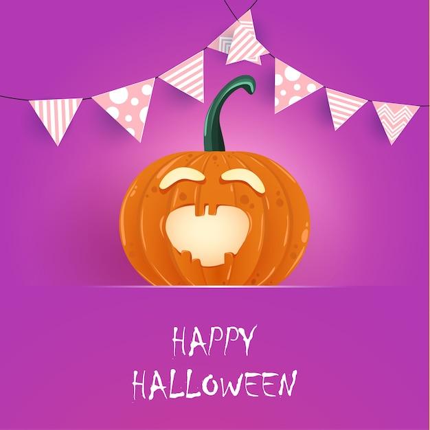 Joyeux halloween. citrouille orange avec des personnages drôles Vecteur Premium