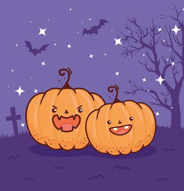Joyeux Halloween, Citrouilles Au Cimetière Avec Des Chauves-souris Volant Dans La Conception D'illustration Vectorielle Nuit Noire Vecteur Premium