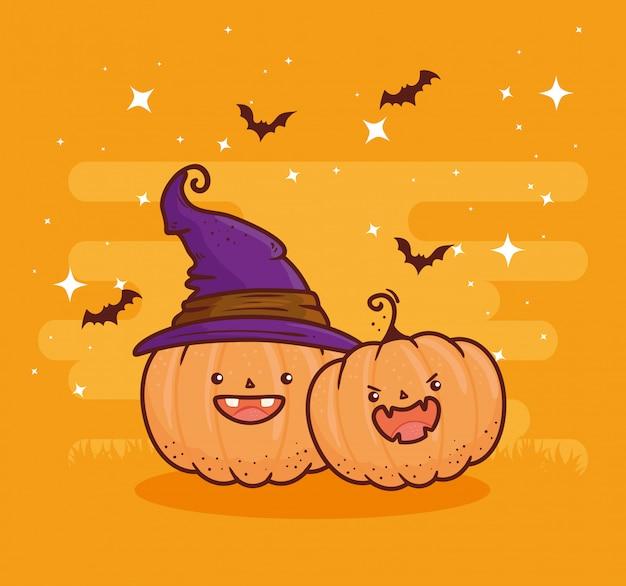 Joyeux Halloween, Citrouilles Mignonnes Avec Chapeau Sorcière Et Chauves-souris Volant Vector Illustration Design Vecteur Premium