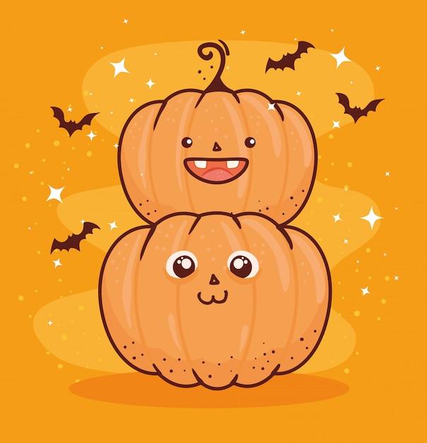 Joyeux Halloween, Citrouilles Mignonnes Et Chauves-souris Volant Conception D'illustration Vectorielle Vecteur Premium