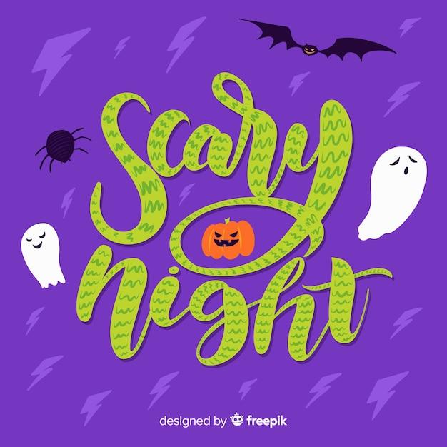 Joyeux halloween avec lettrage de nuit effrayant Vecteur gratuit