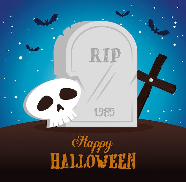 Joyeux halloween avec scène de cimetière Vecteur gratuit