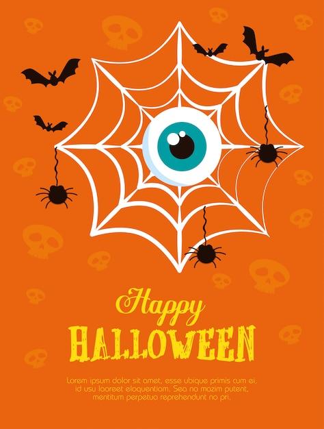 Joyeux halloween avec toile d'araignée Vecteur gratuit