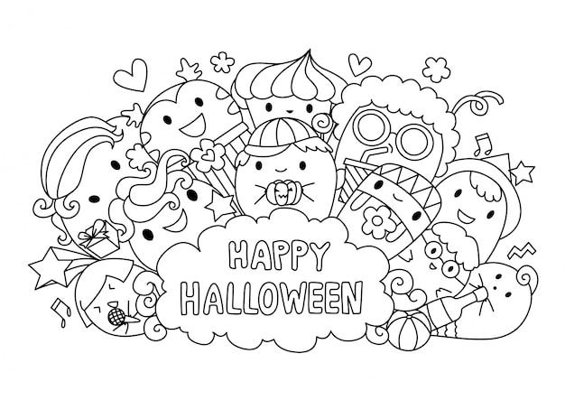 Dessin Joyeux Halloween.Joyeux Halloween Vecteur Premium