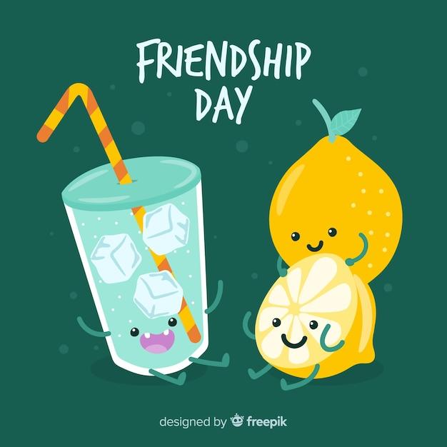 Joyeux jour de l'amitié dessiné à la main Vecteur gratuit