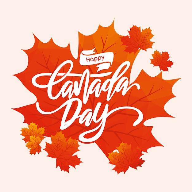 Joyeux Jour De Canada Lettrage Vecteur gratuit