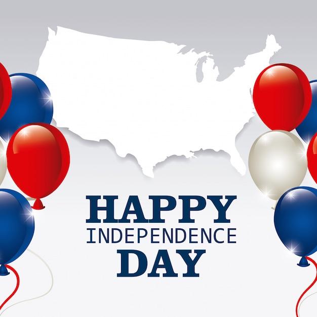 Joyeux jour de l'indépendance, 4 juillet, usa design Vecteur gratuit