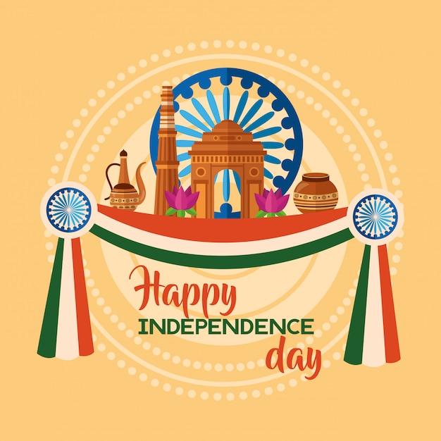 Joyeux jour de l'indépendance en inde dans un style plat Vecteur gratuit