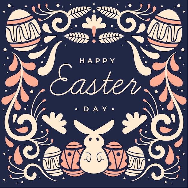 Joyeux Jour De Pâques Style Dessiné à La Main Vecteur gratuit