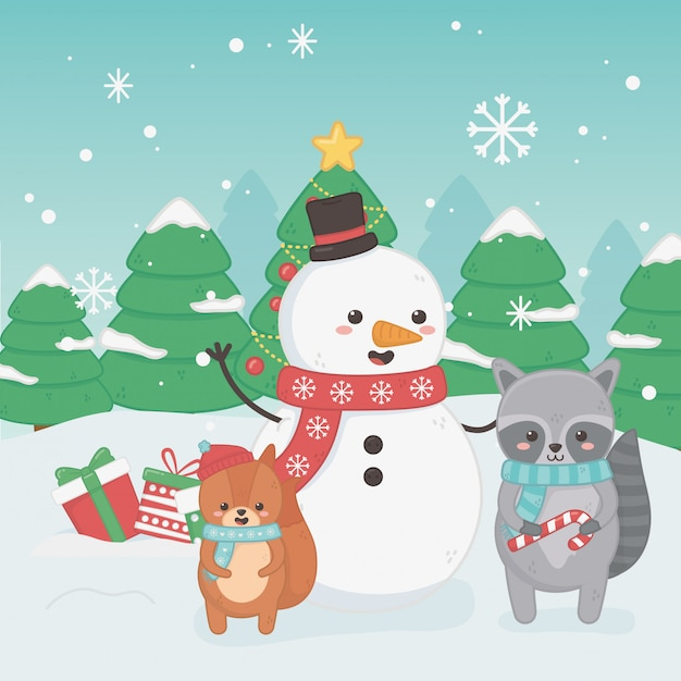 Joyeux joyeux noël carte avec bonhomme de neige et animaux Vecteur Premium