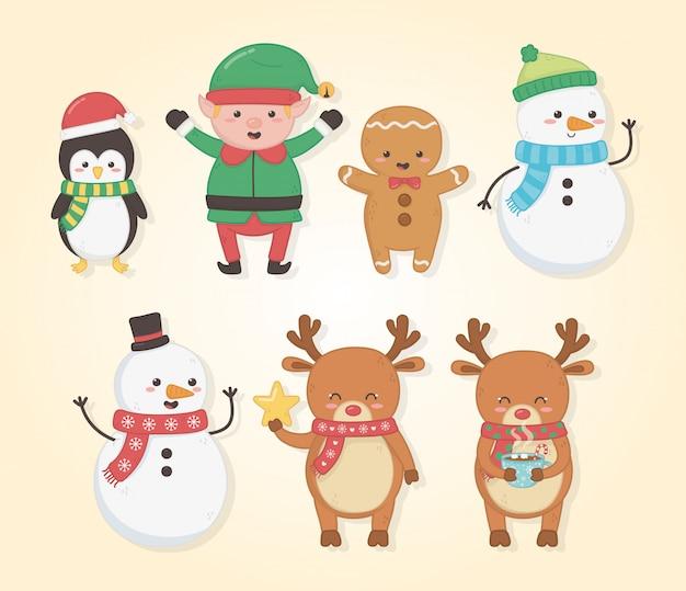 Joyeux joyeux noël carte avec groupe de personnages Vecteur Premium
