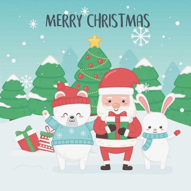 Joyeux joyeux noël carte avec le père noël et les animaux Vecteur Premium