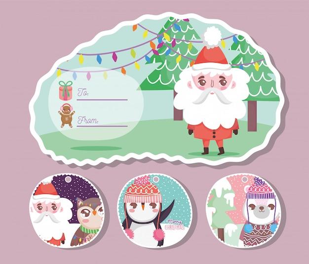 Joyeux Joyeux Noël Carte De Voeux Vecteur Premium