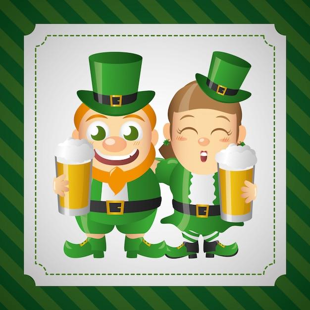 Joyeux Leprechauns Irlandais Avec Des Bières, St Patricks Day Vecteur gratuit
