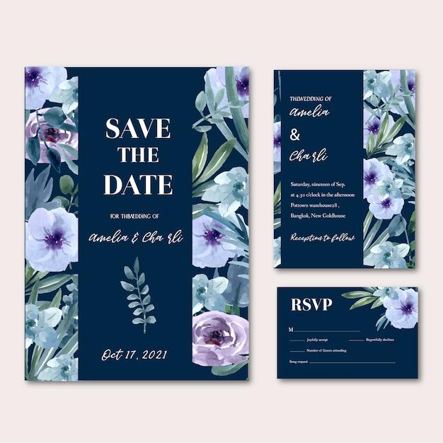 Joyeux mariage carte floral Vecteur gratuit