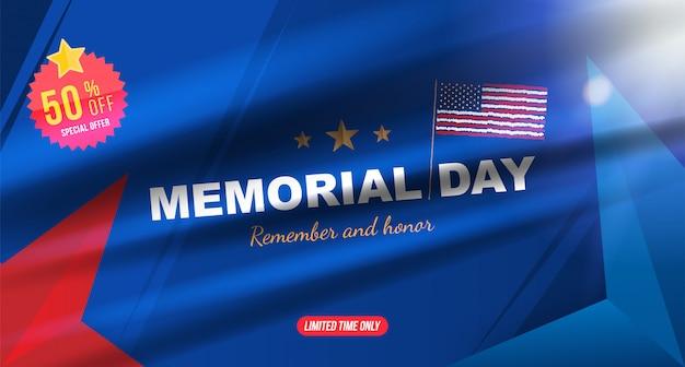 Joyeux memorial day. carte de voeux avec drapeau usa sur fond avec effet de lumière Vecteur Premium