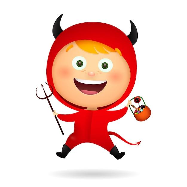 Joyeux mignon petit diable Vecteur gratuit
