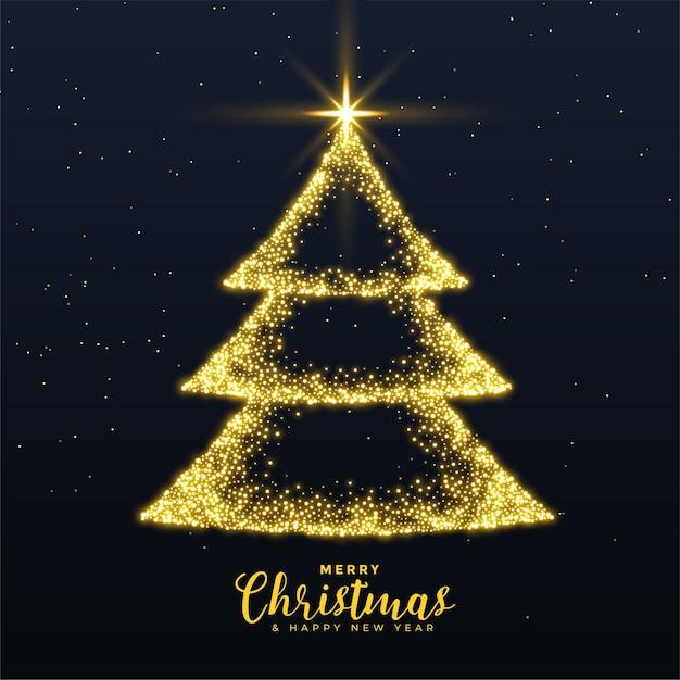 Joyeux Noël Arbre Créatif Avec Fond D'étincelles Dorées Vecteur gratuit