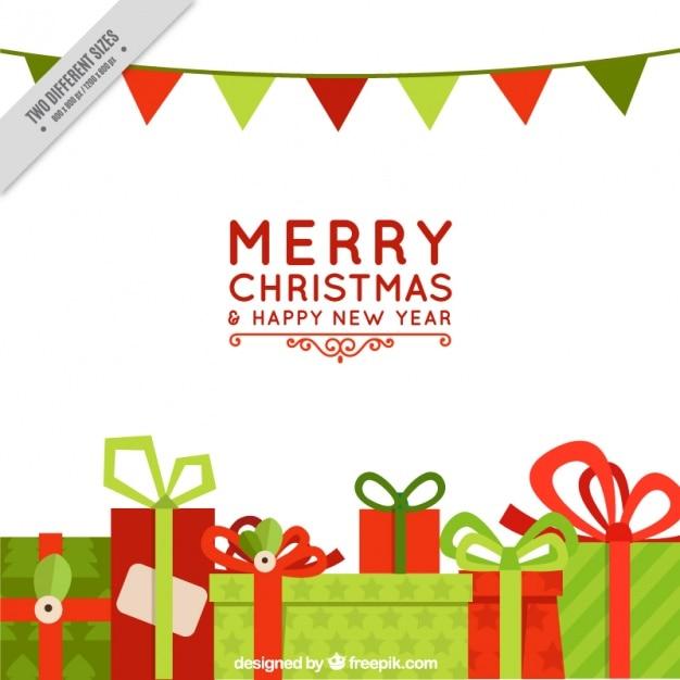 Joyeux no l avec des cadeaux et des guirlandes t l charger des vecteurs gratuitement - Guirlande joyeux noel ...