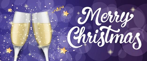 Joyeux Noël avec des flûtes à champagne Vecteur gratuit