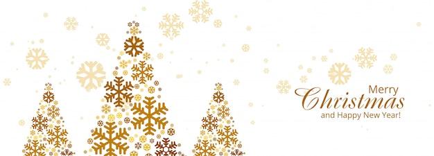 Joyeux noël bannière de carte arbre coloré flocon de neige Vecteur gratuit