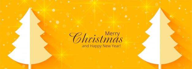 Joyeux noël et bannière de célébration de bonne année Vecteur gratuit