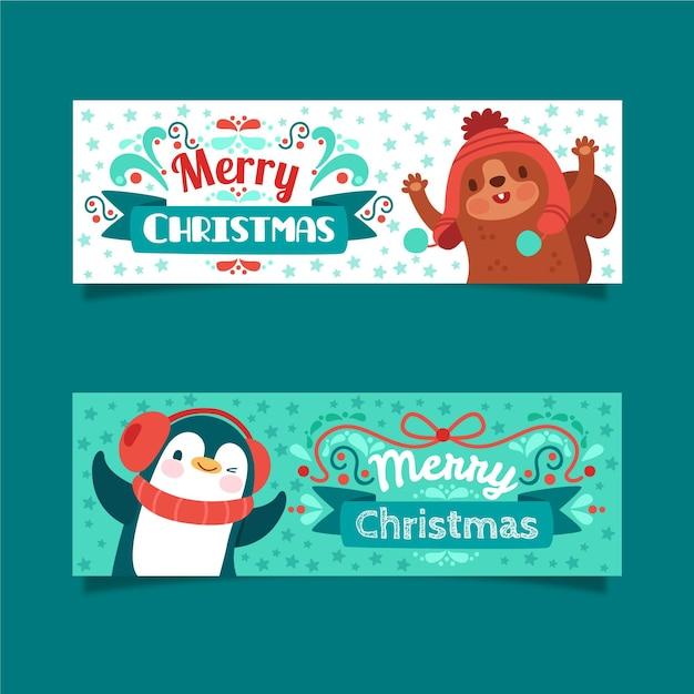 Joyeux Noël Bannières Avec Des Animaux Mignons Vecteur gratuit