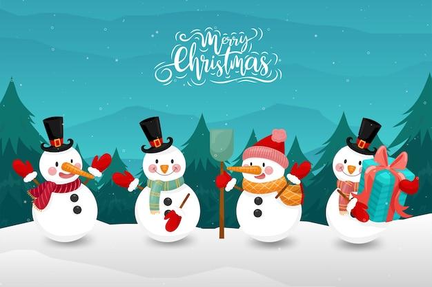 Joyeux Noël Avec Bonhomme De Neige Heureux En Hiver Vecteur gratuit