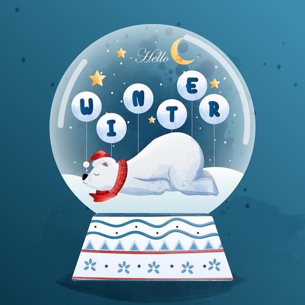 Joyeux Noël Et Bonjour L'hiver Avec L'ours Polaire. Vecteur Premium
