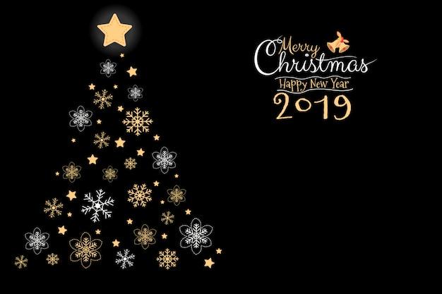 Joyeux noël et bonne année 2019 carte de voeux Vecteur Premium