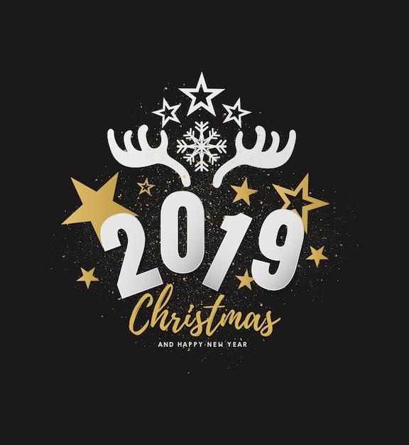 Feliz Navidad Joyeux Noel 2019.Joyeux Noel Et Bonne Annee 2019 Conception De Vecteur