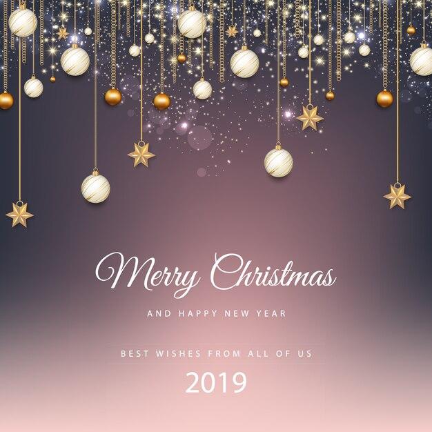 Feliz Navidad Joyeux Noel 2019.Joyeux Noel Et Bonne Annee 2019 Telecharger Des Vecteurs