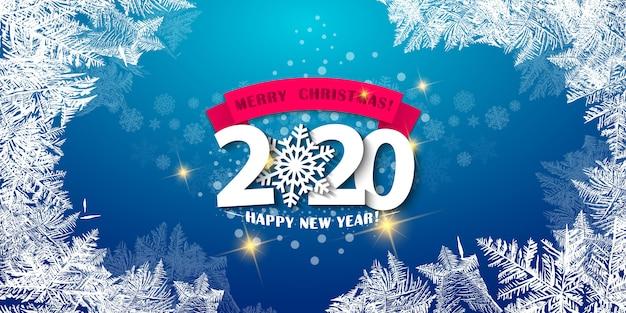 Joyeux Noël Et Bonne Année 2020 Carte De Voeux Vecteur Premium