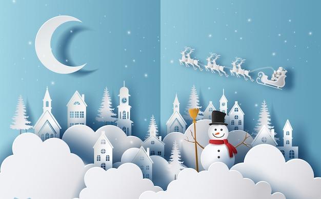 Joyeux noël et bonne année 2020 concept, bonhomme de neige dans un village et fond de flocons de neige. Vecteur Premium