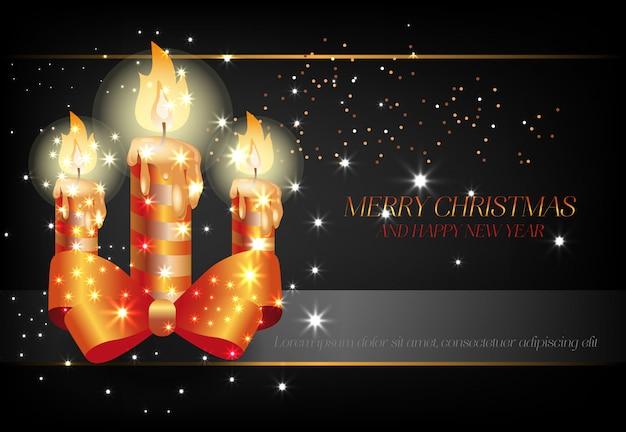 Joyeux noël et bonne année avec affiche de bougies noires Vecteur gratuit