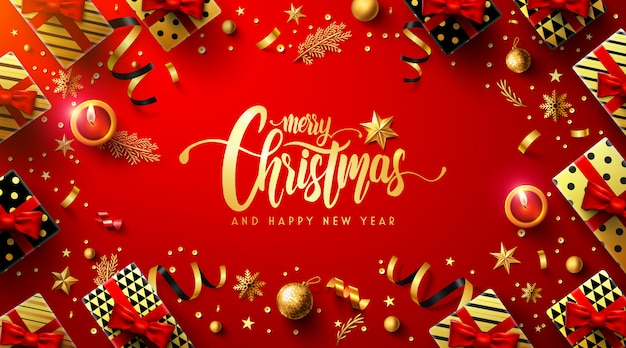 Joyeux noël et bonne année affiche rouge Vecteur Premium