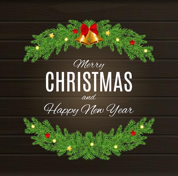 Joyeux Noël Et Bonne Année Affiches. Vecteur Premium
