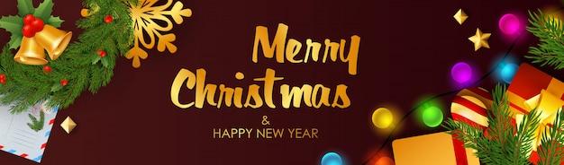 Joyeux Noël Et Bonne Année Bannière Avec Des Grelots Vecteur gratuit