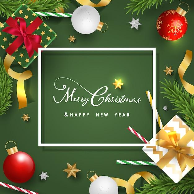 Joyeux noël et bonne année bannière avec des objets festifs réalistes Vecteur Premium