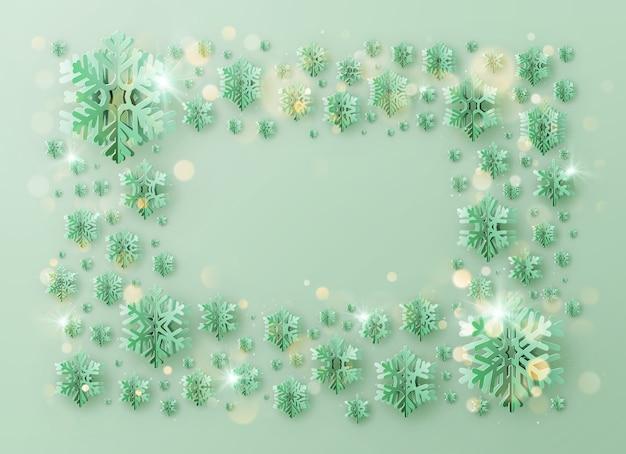 Joyeux Noël Et Bonne Année Cadre De Modèle De Voeux Avec Des Flocons De Neige En Aluminium Vecteur Premium