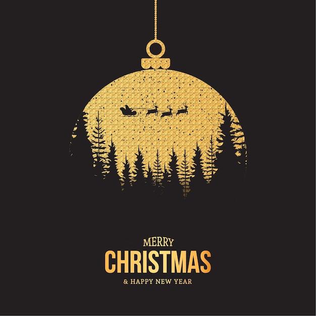 Joyeux Noël Et Bonne Année Carte Avec Boule De Noël Vecteur gratuit