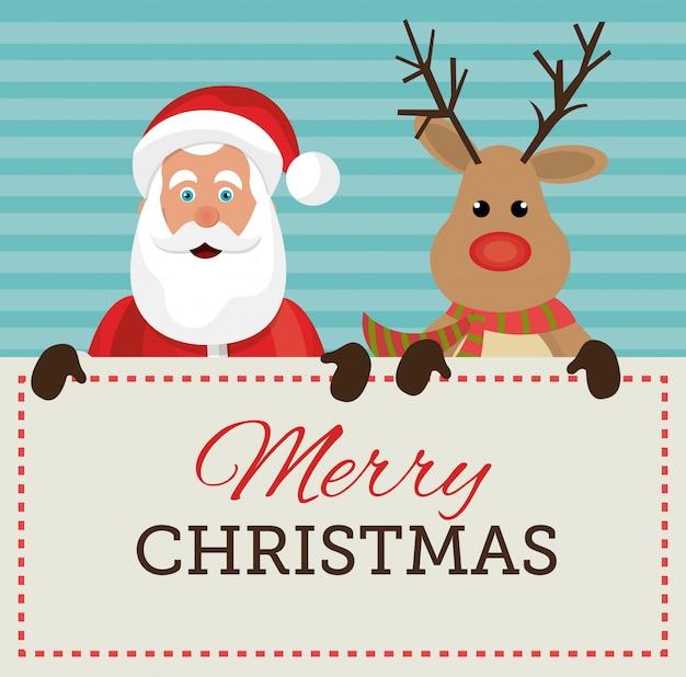 Joyeux noël et bonne année carte design Vecteur gratuit
