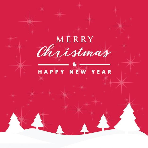 Joyeux noël et bonne année carte avec fond de beaux flocons de neige Vecteur Premium