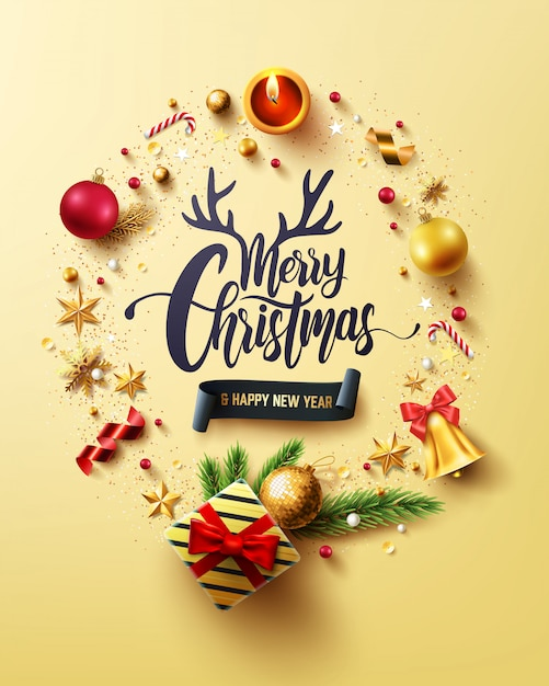 Joyeux Noël Et Bonne Année Carte D'or Vecteur Premium
