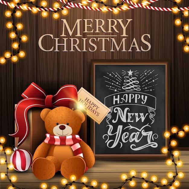 Joyeux Noël Et Bonne Année Carte Postale Avec Intérieur Confortable Avec Mur En Bois Vecteur Premium