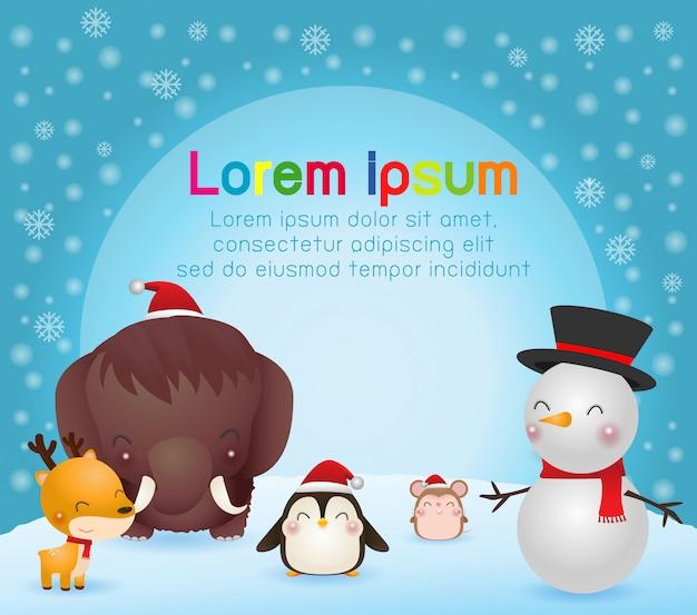 Joyeux noël et bonne année carte de voeux. caractère de noël animaux mignons. mammouth, pingouin, renne, rat, bonhomme de neige, paysage d'hiver Vecteur Premium