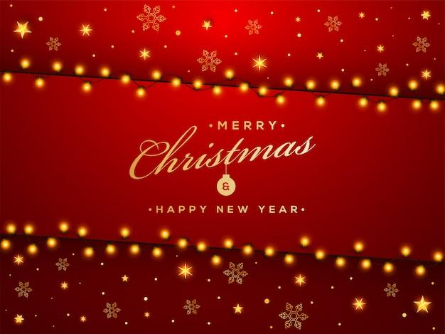 Joyeux noël et bonne année carte de voeux décorée d'étoiles d'or, flocons de neige et guirlande d'éclairage sur le rouge. Vecteur Premium