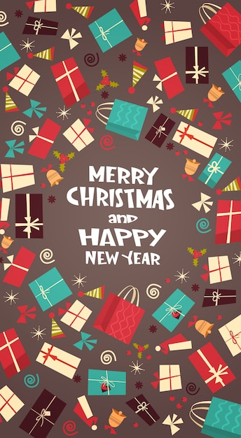 Joyeux noël et bonne année carte de voeux avec différents coffrets cadeaux hiver présente un concept Vecteur Premium