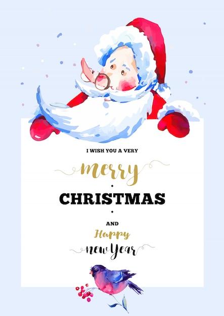 Joyeux noël et bonne année carte de voeux avec illustration du père noël Vecteur Premium
