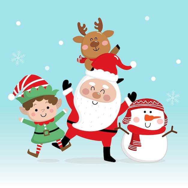Joyeux noël et bonne année carte de voeux avec le père noël Vecteur Premium